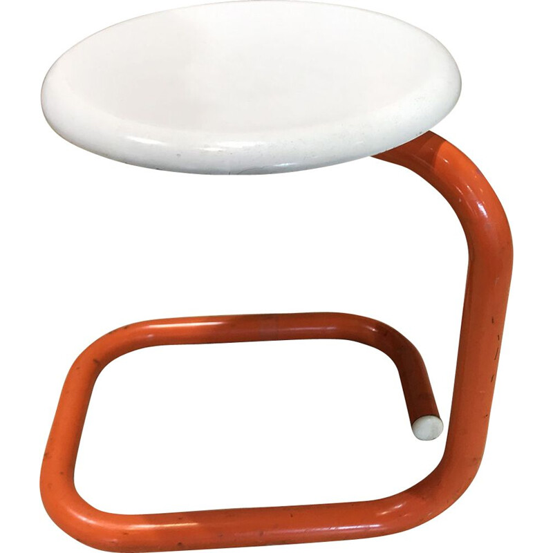 Vintage white and orange snake stool 1970