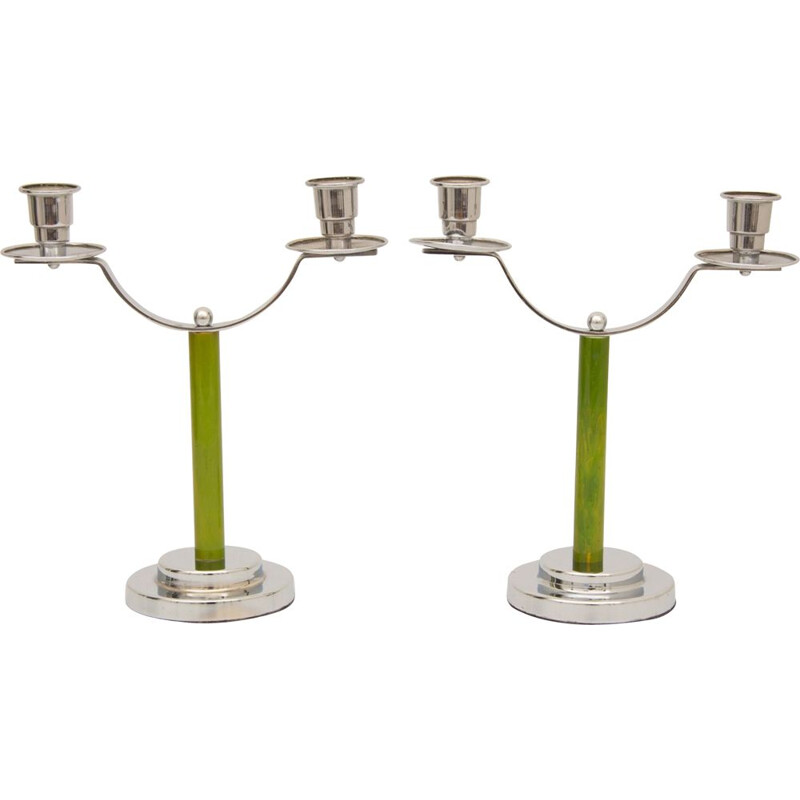 Pair of vintage chromed metal candle holders,1930