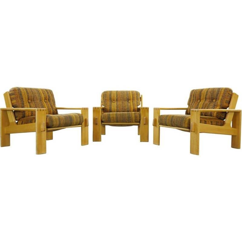 "Set of 3 vintage ""Bonanza"" armchairs by Esko Pajamies for Asko, Finland, 1970"