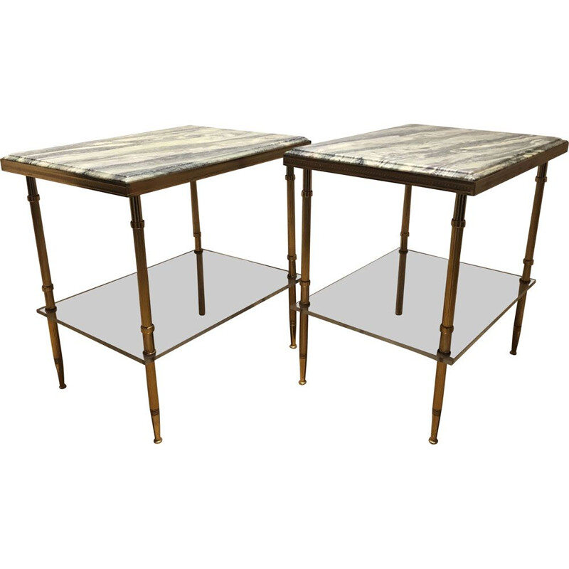 Pair of vintage neo classic side tables, 1950
