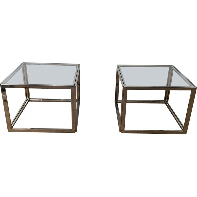 Pair of vintage chrome side table