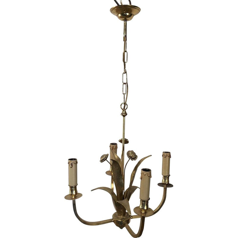 Vintage brass flowers chandelier 1970