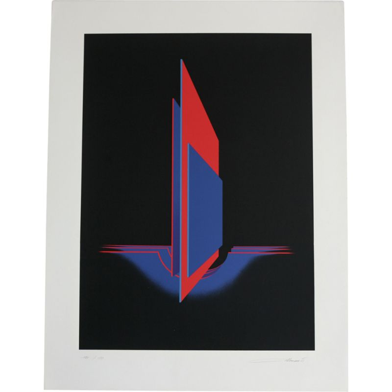Vintage lithography Space by Jean Allemand, numbered 101150, 1975s