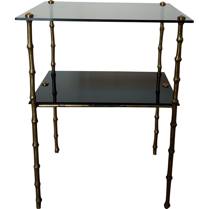Vintage side table in bronze model bamboo 1950