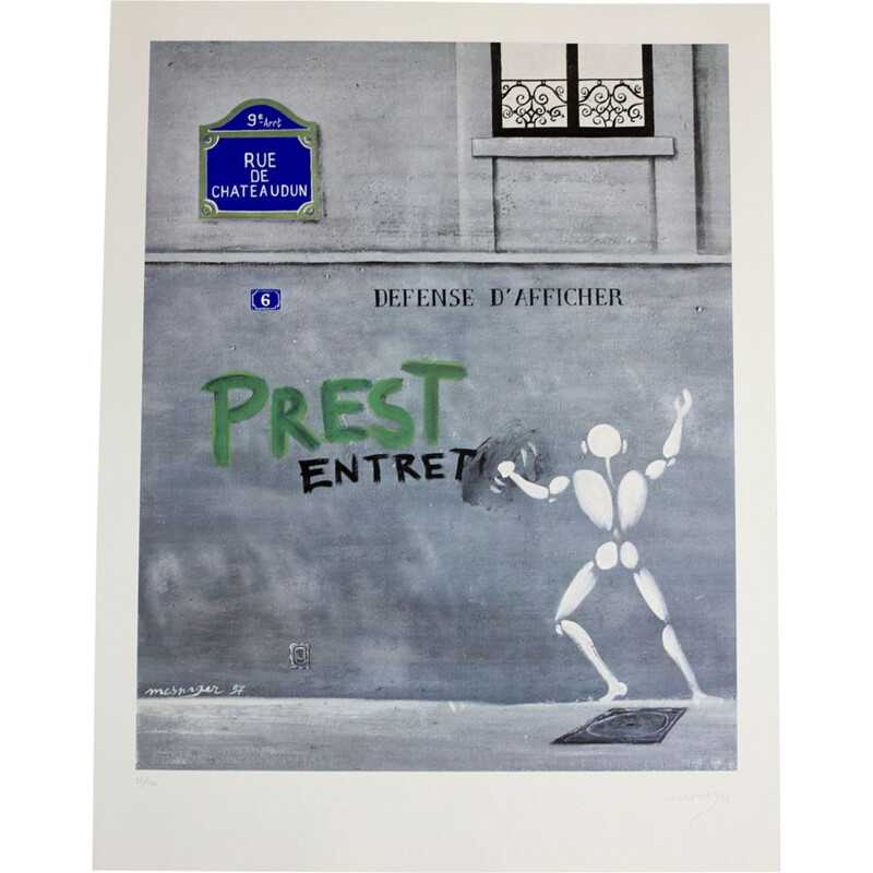 Vintage silkscreen printing by Jérôme Mesnager, numbered 95200, 1980s