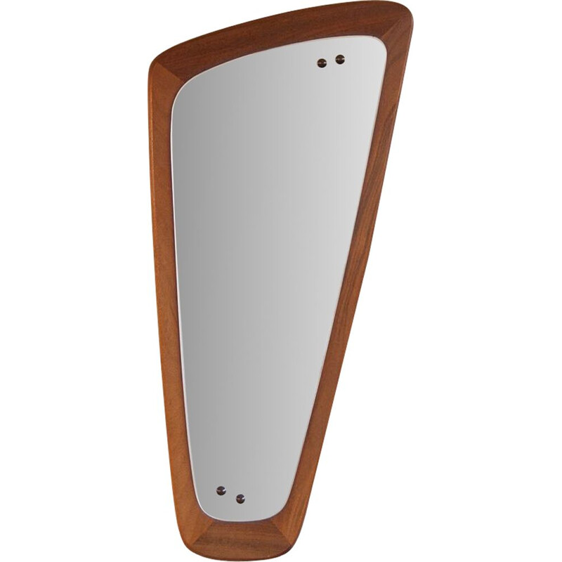 Vintage mirror asymmetrical in teak Scandinavian 1960s
