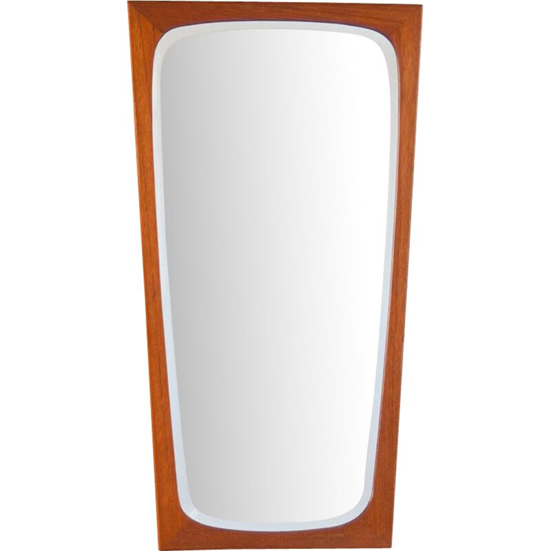 Vintage mirror flared in teak Denmark 1960s