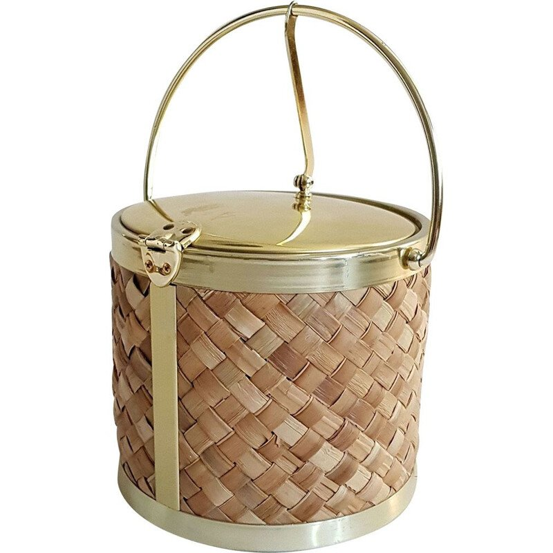 Vintage ice bucket in raffia and gold by Kraftware Co 1970s