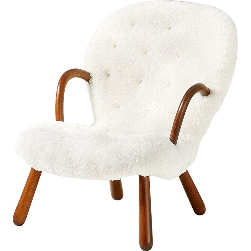 Vintage Clam armchair Sheepskin by Philip Arctander 1944