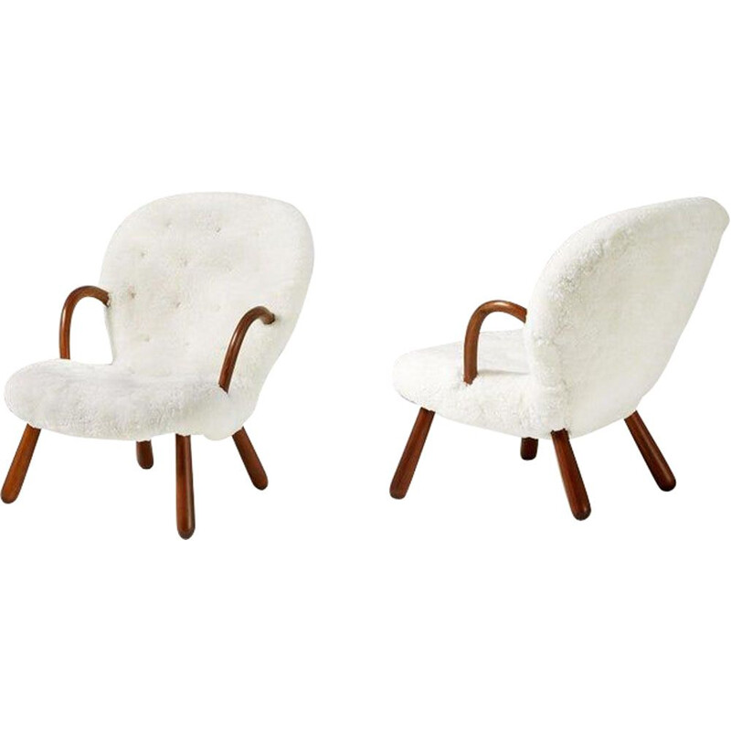 Pair of Sheepskin Clam armchairs by Philip Arctander 1944