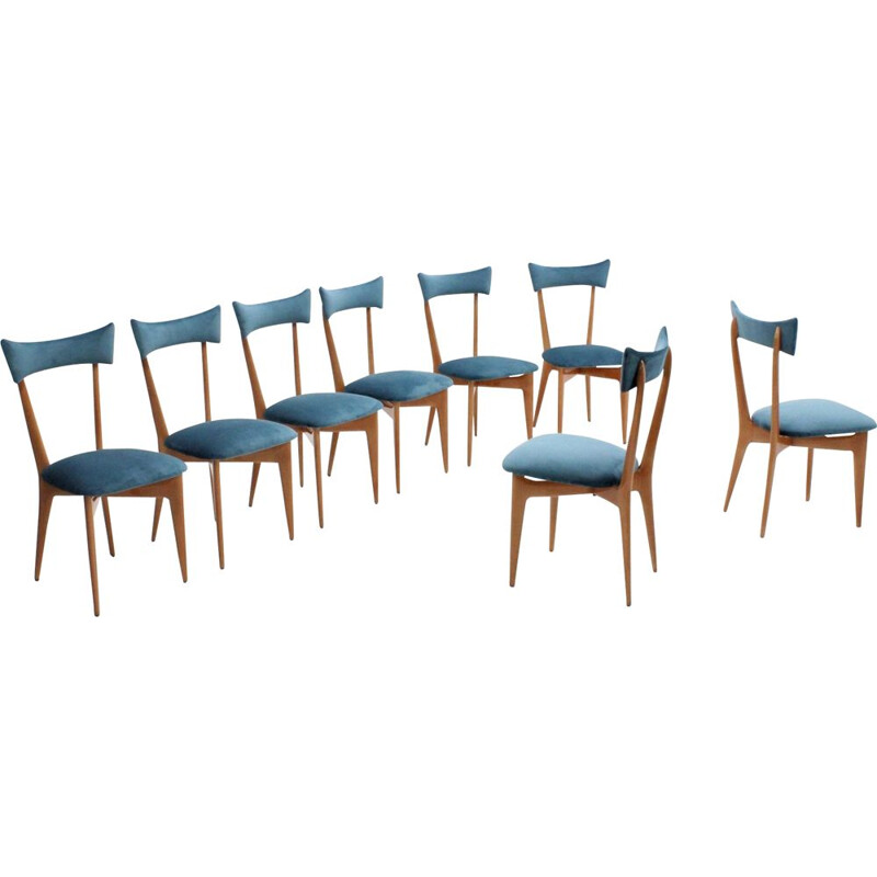 Set of 8 dining chairs by Ico Parisi,1950