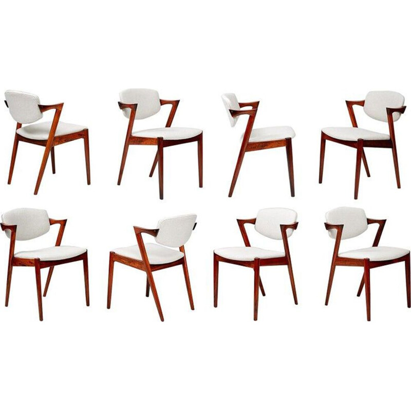 Set of 8 vintage Kai Kristiansen Rosewood Model 42 Dining Chairs, 1956