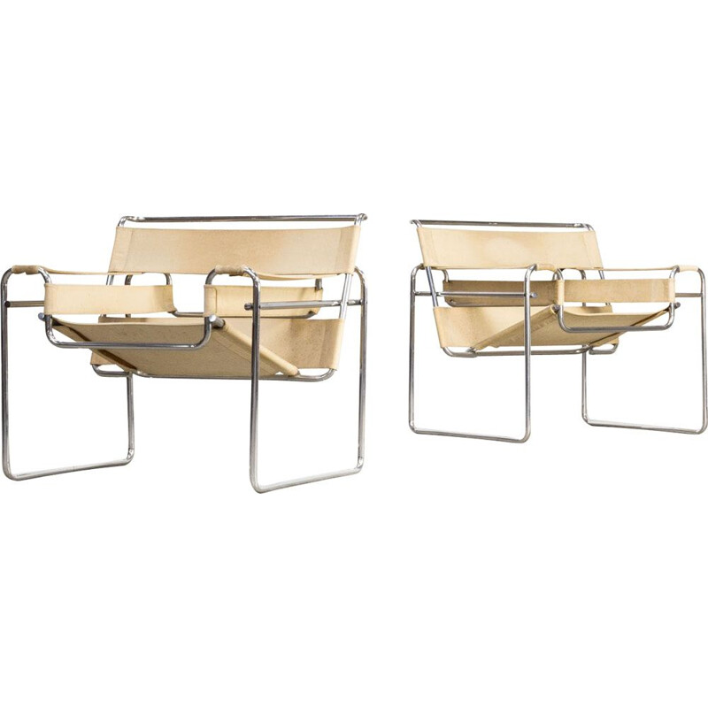 Set of 2 vintage Marcel Breuer wassily B3 chairs canvas for Gavina