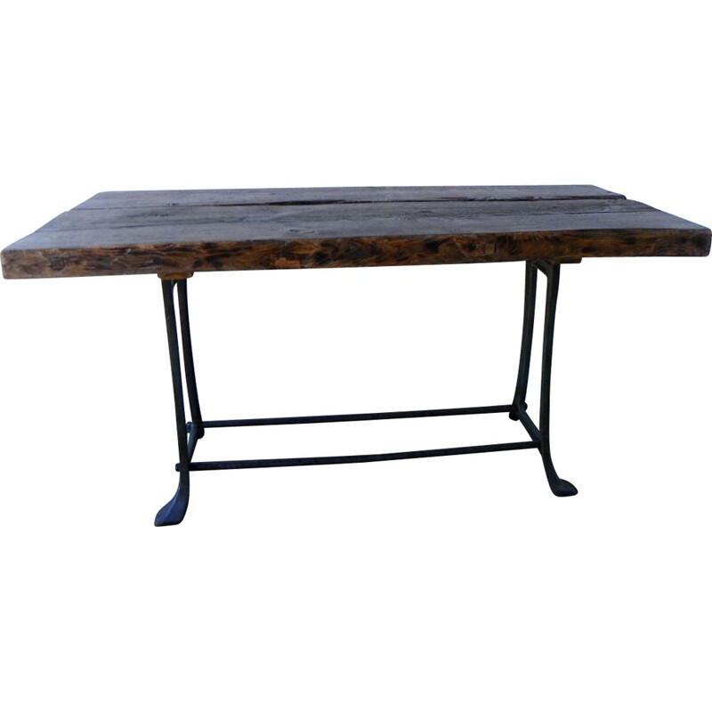 Vintage heavy table with rustic style stools