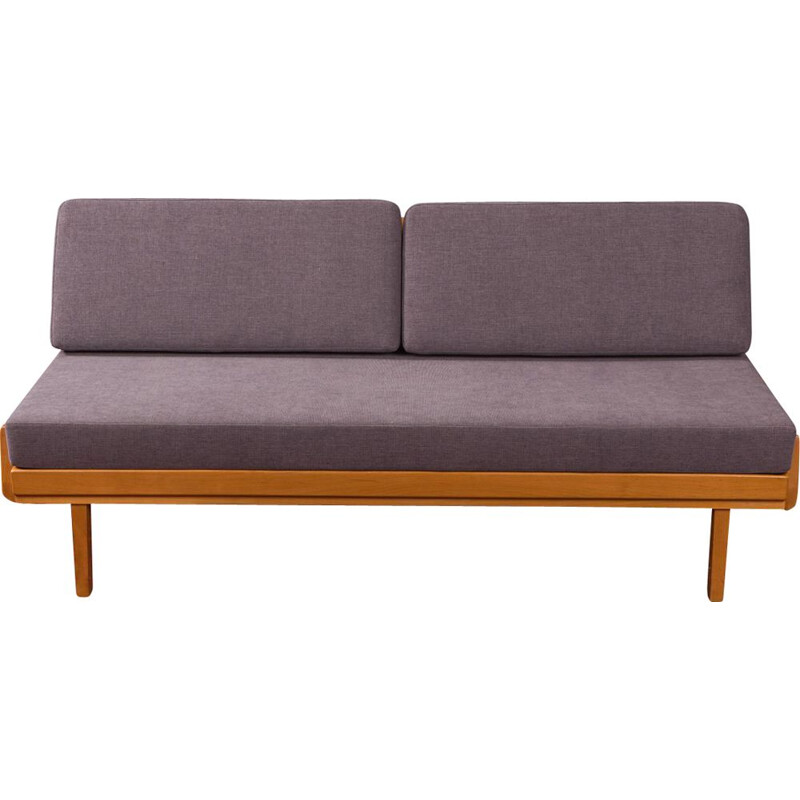 Vintage sofa for Knoll Antimott in grey polyester and cherrywood 1960s