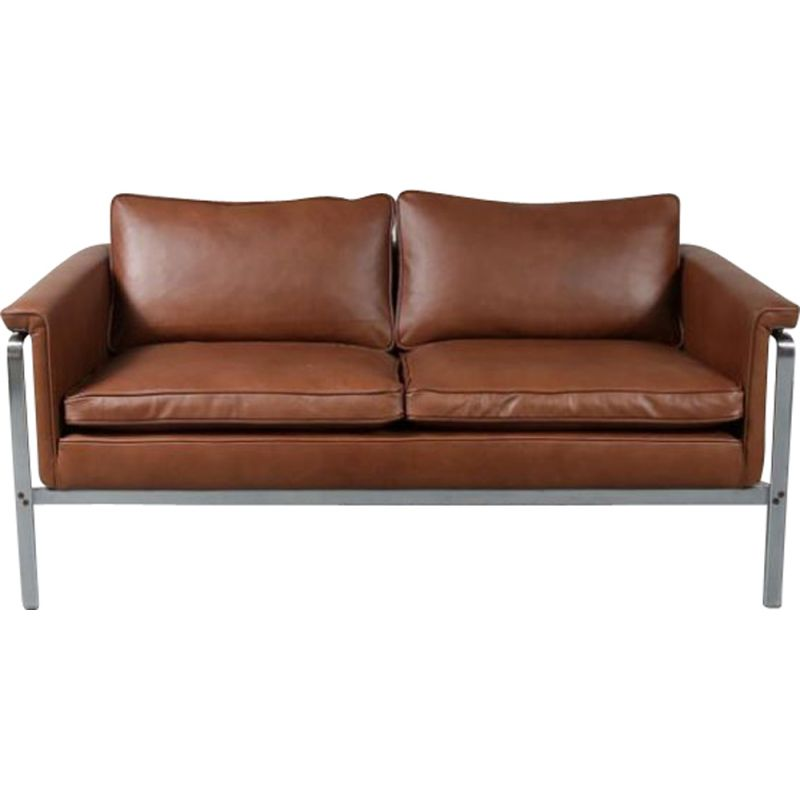 Vintage sofa for Kill International in brown leather and metal 1960s