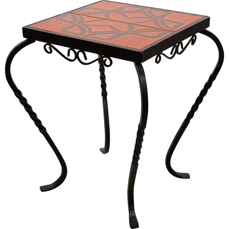 Vintage french side table in iron and ceramic 1950