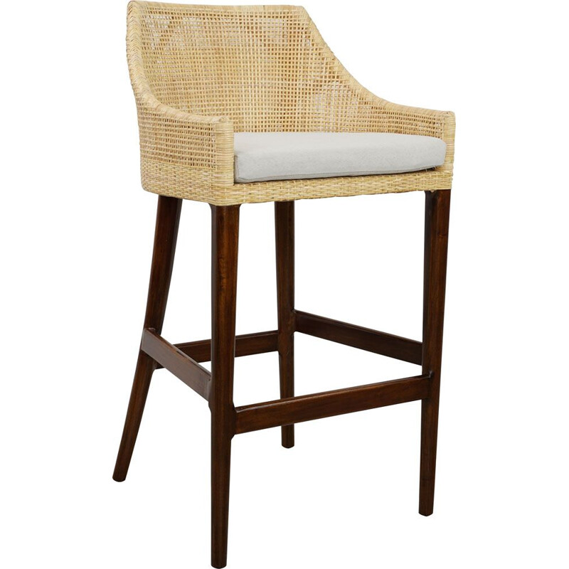French vintage stool in rattan and wood