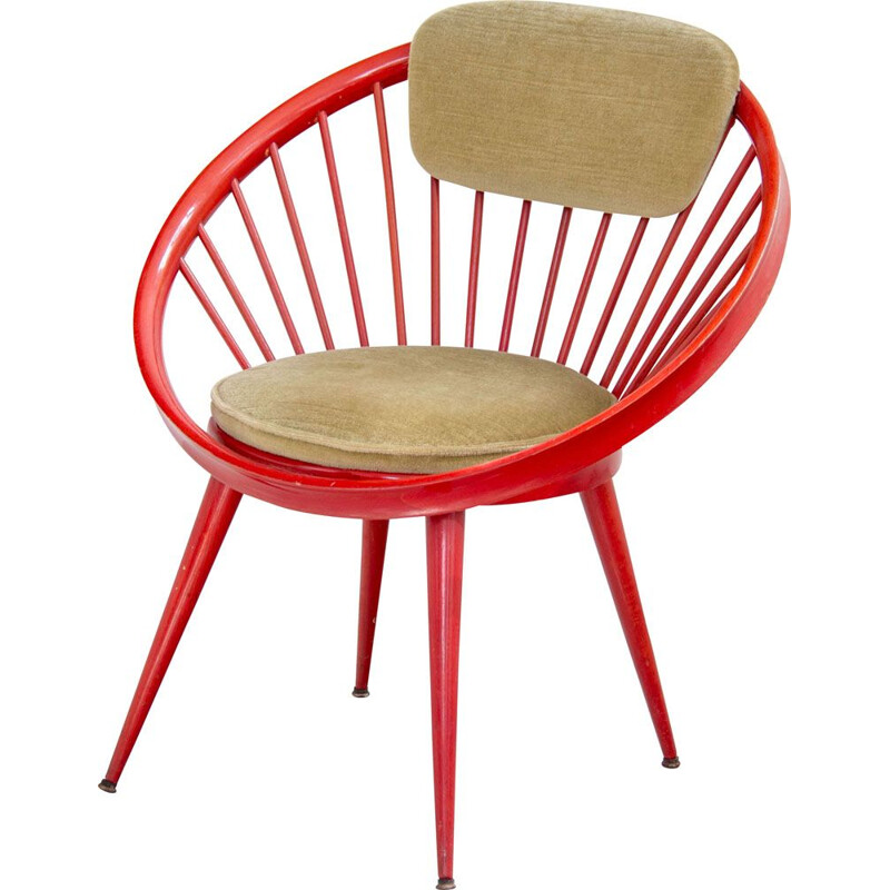 Vintage red Circle armchair by Yngve Eckström in fabric and wood 1960s