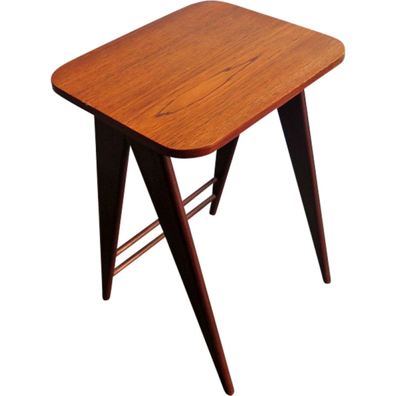 Vintage dutch side table in teak with scissor legs 1950s