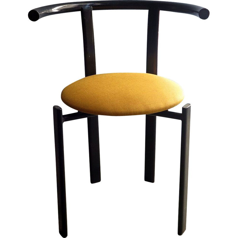 Vintage black lacquered iron chair with yellow fabric seat 1980