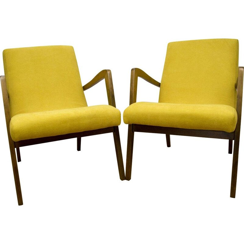 Set of 2 vintage armchairs for Bystrzyckie in yellow fabric and beechwood 1960s