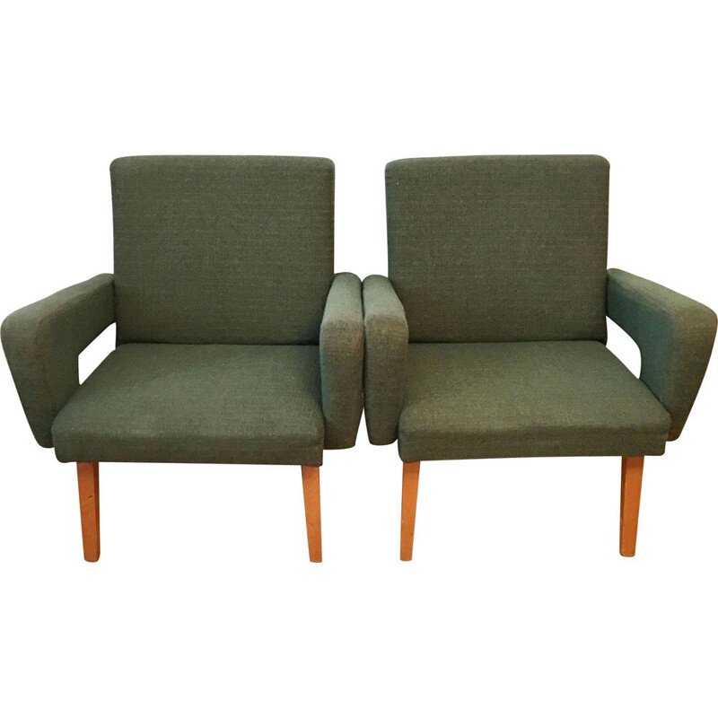 Pair of vintage Rocket armchairs for Jitona in green fabric and wood 1960s