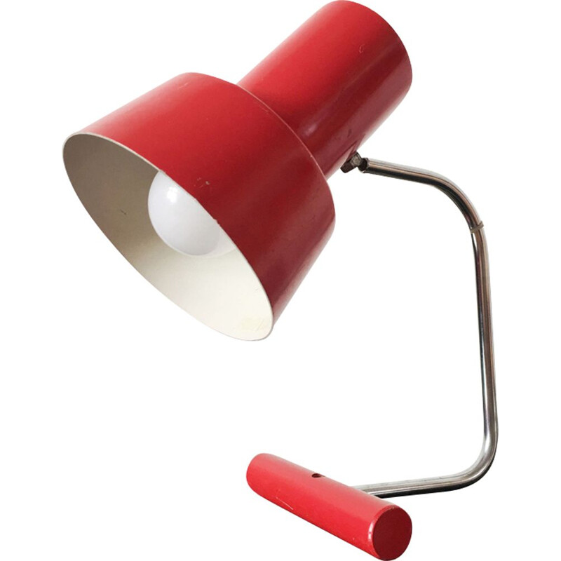 Vintage lamp by Josef Hurka for Napako in red metal and wood 1960s