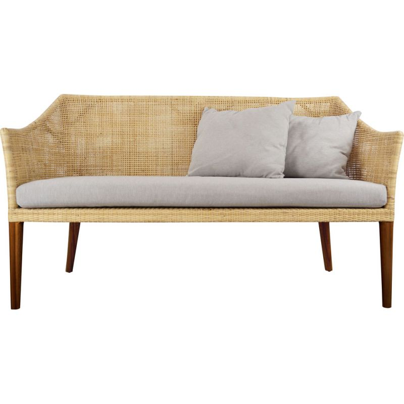 Vintage 2-seater sofa in wood and rattan,00's