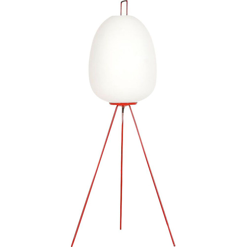 Vintage floor lamp in frosted glass by Josef Hurka for Napako,1960