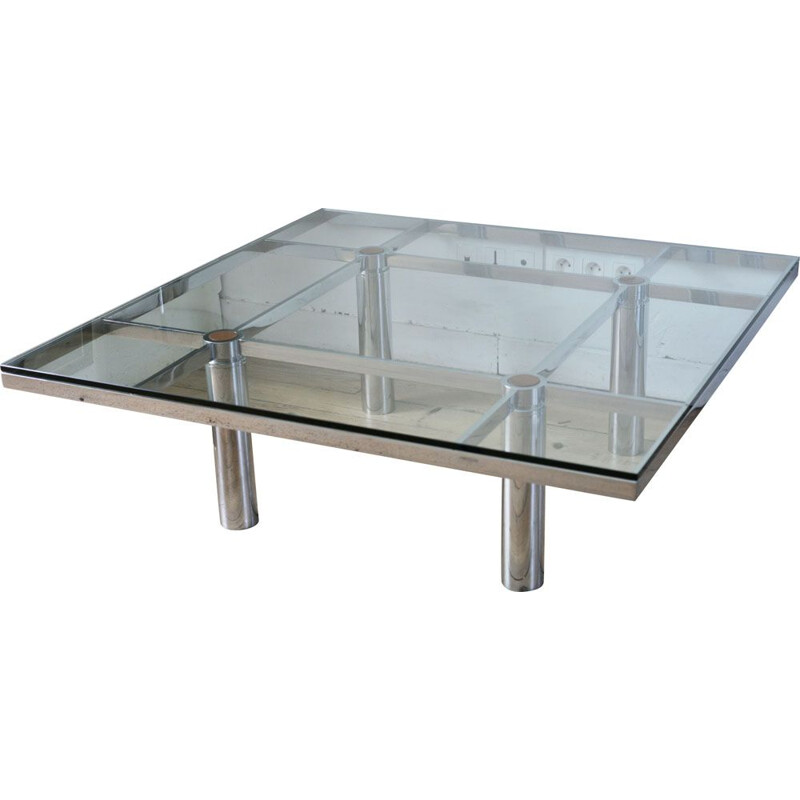 Vintage Knoll coffee table by Tobia Scarpa, model André, Steel and glass, 1970