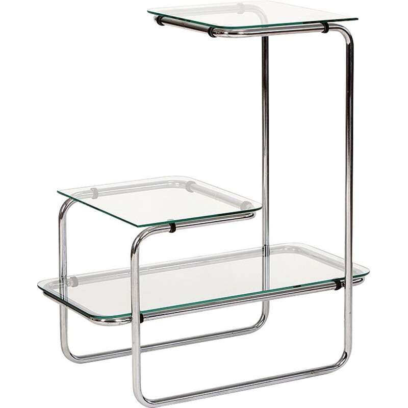 Vintage Glass & Steel Shelf 1930s
