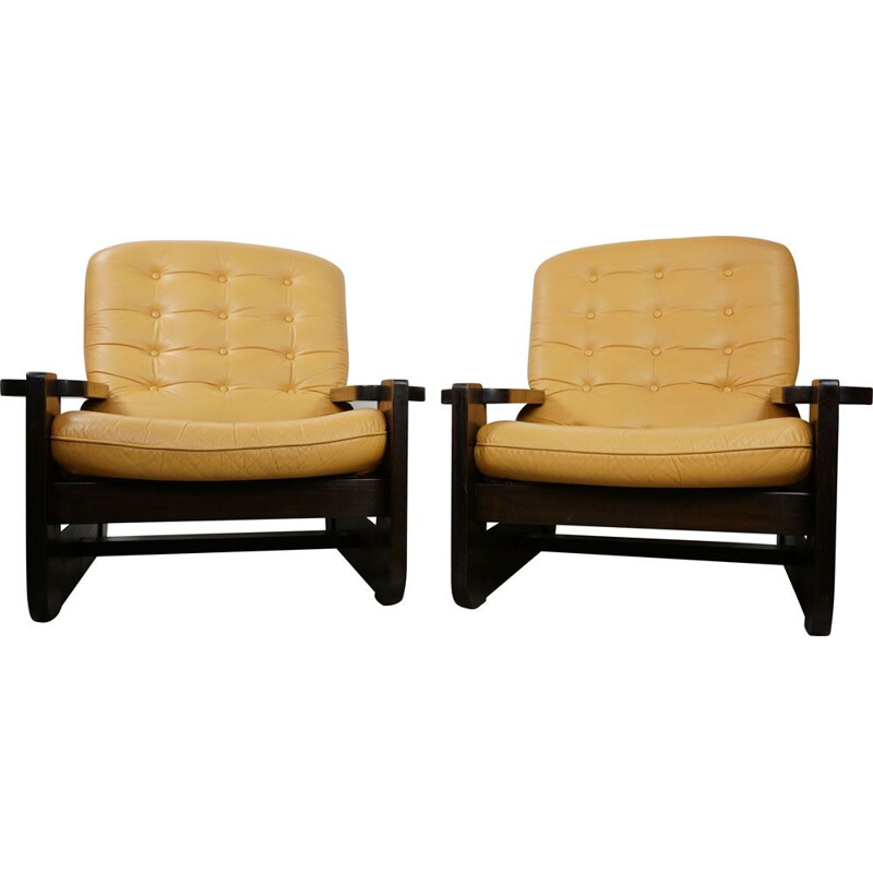 Pair of vintage french armchairs in oak and leather 1960