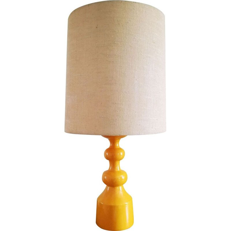 German vintage yellow ceramic lamp 1970