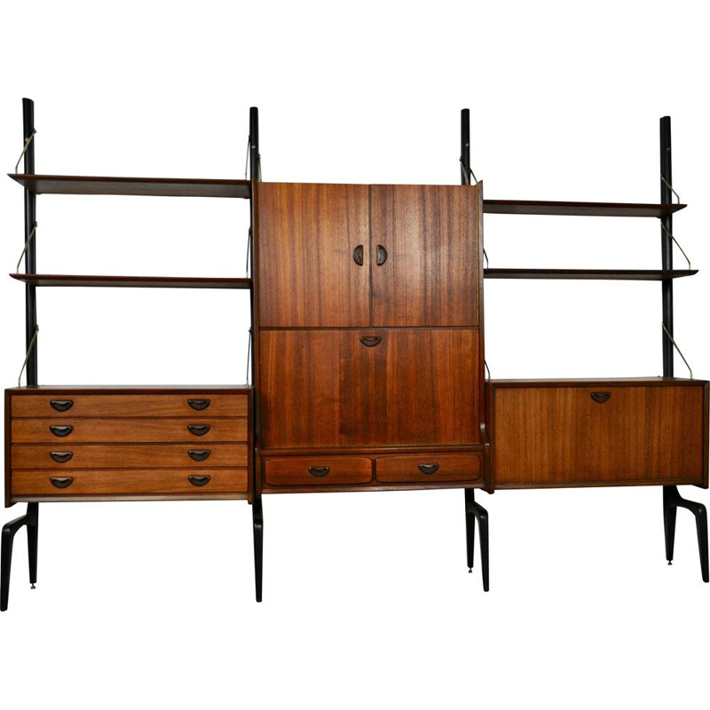 Modular vintage system for Wébé in teak and brass 1950