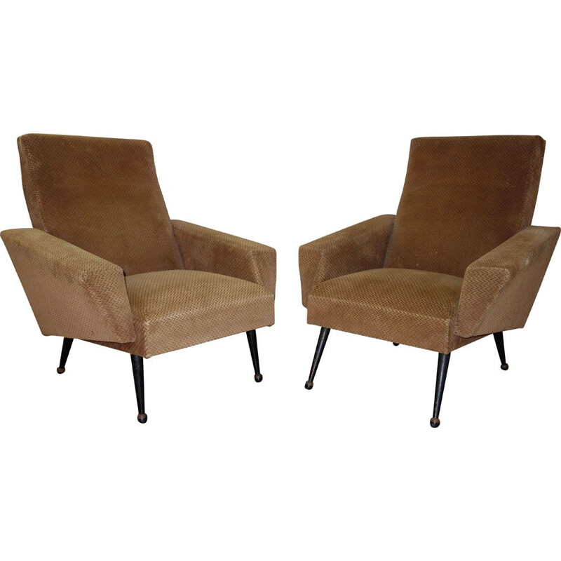 Pair of vintage French armchairs in velvet and wood 1950
