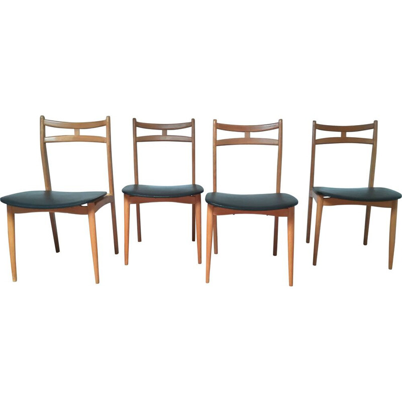 Set of 4 vintage chairs in solid wood and black leatherette 1960