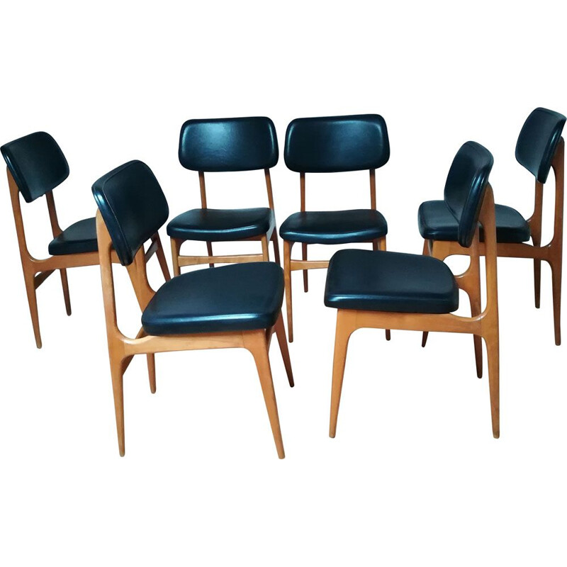 Set of 6 vintage scandinavian chairs in beech and black leatherette 1960