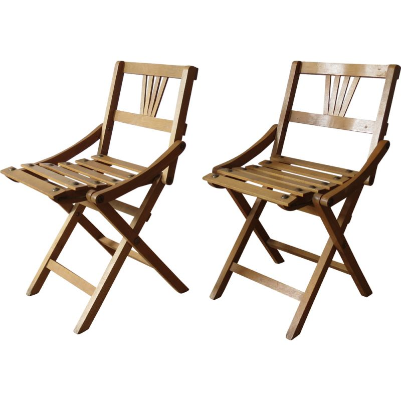 Pair of vintage folding chairs for Sfinx Filakova in beechwood 1940s