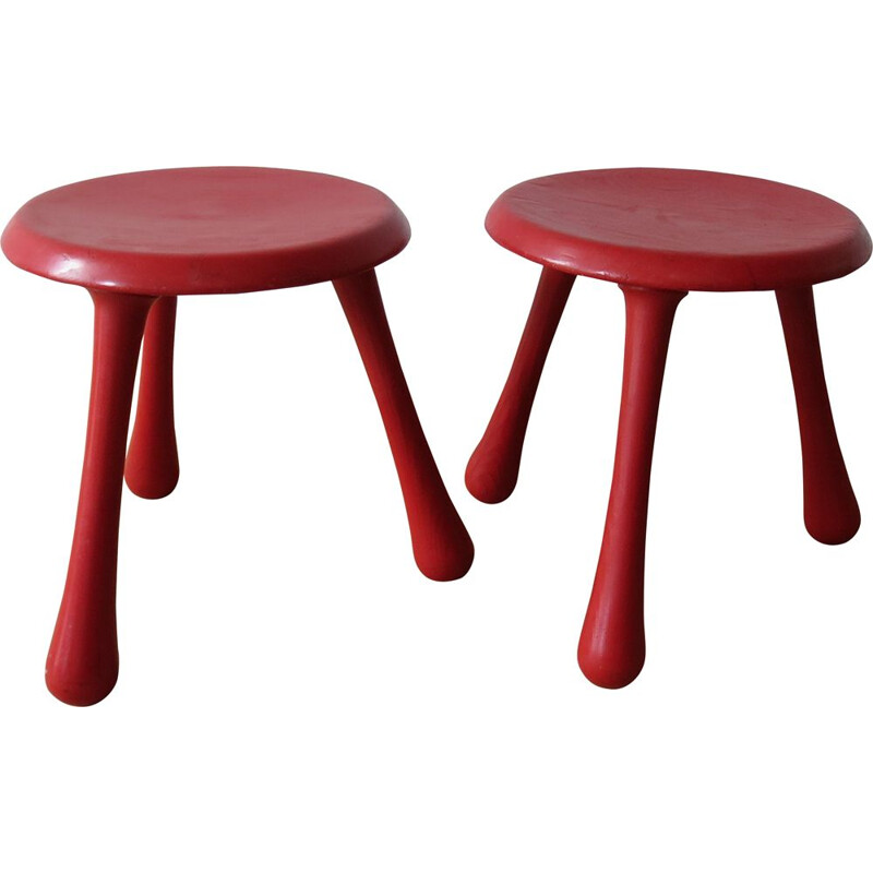 Pair of vintage stools for Habitat in red pinewood