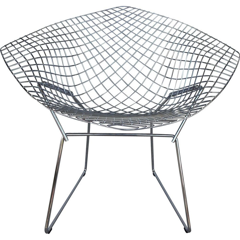 Vintage Diamond armchair for Knoll in chromed metal