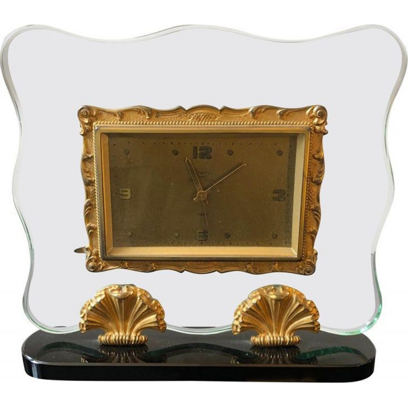 Vintage italian table clock in glass and brass 1950s