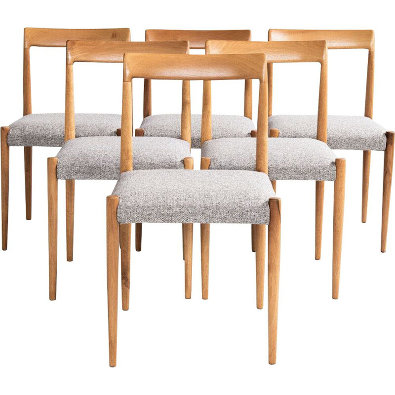 Set of 6 vintage chairs for Lübke in solid wood and grey fabric 1960