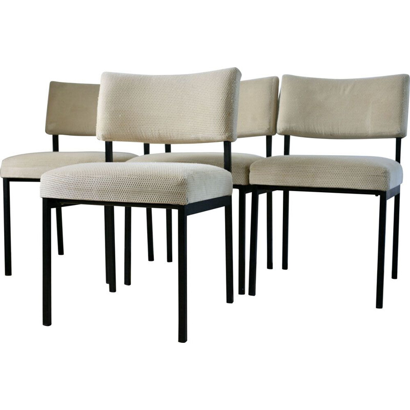 Set of 4 vintage French chairs for Steiner by Jopeph André Motte in beige velvet and steel
