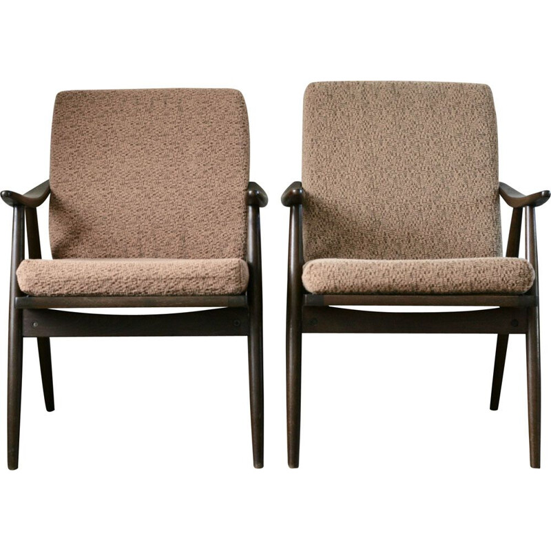 Pair of vintage Boomerrang armchairs for Thonet in wood and brown fabric 1960