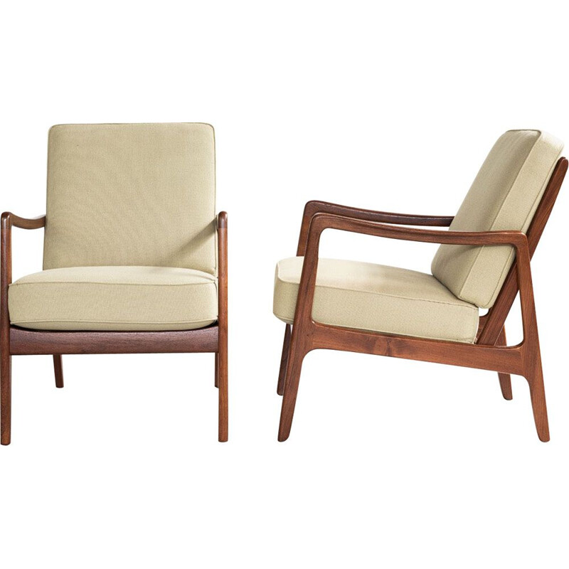 Pair of vintage armchairs for France & Son in teak and green fabric 1960s