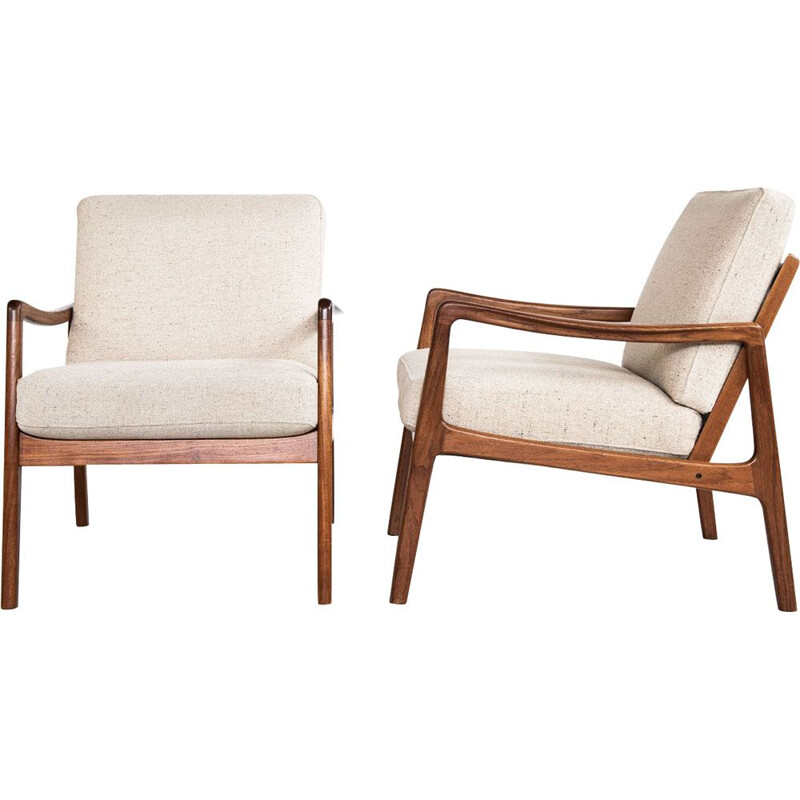 Pair of vintage scandinavian armchairs for France & Søn in teak and beige fabric 1960s