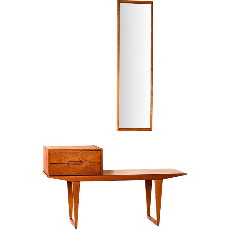 Vintage hallway set in teak with mirror, table and drawer unit by Kai Kristiansen for Aksel Kjersgaard, 1960s