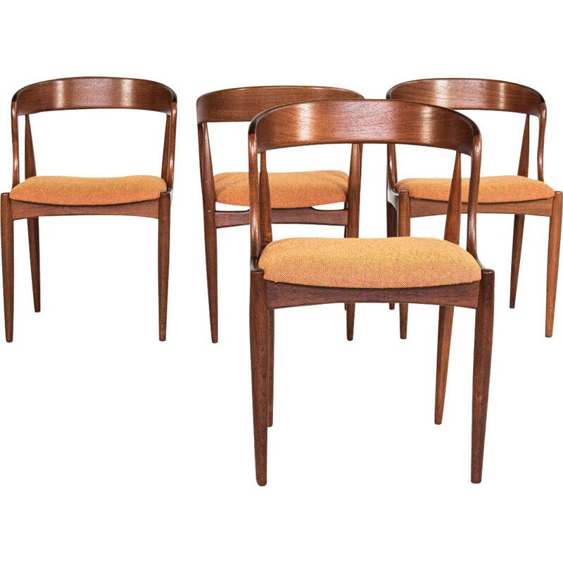 Set of 4 vintage chairs in teak and Hallingdal fabric by Johannes Andersen for Uldum