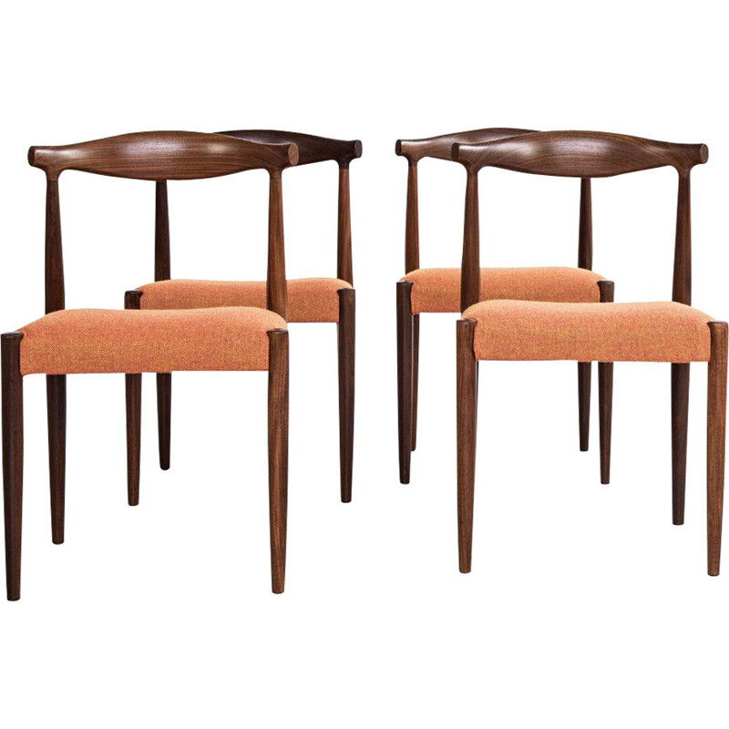Set of 4 vintage chairs in teak and Hallingdal fabric by Vamo Sønderborg 1960s